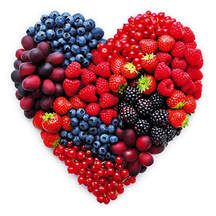 Heart shaped group of berries