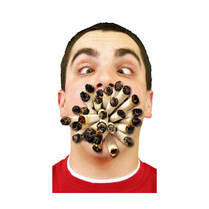 Man with heaps of cigarettes in mouth